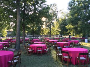tables on grass for event